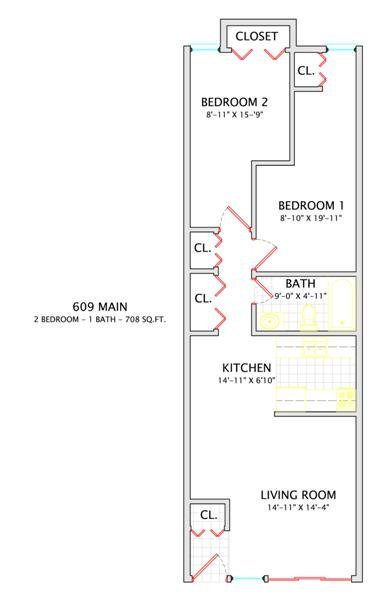 1 Bedroom 1 Bathroom Apartment for rent at 609 W. Main in Urbana, IL