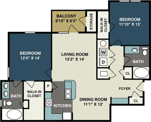 2 Bedrooms 2 Bathrooms Apartment for rent at Amelia Station in Clayton, NC