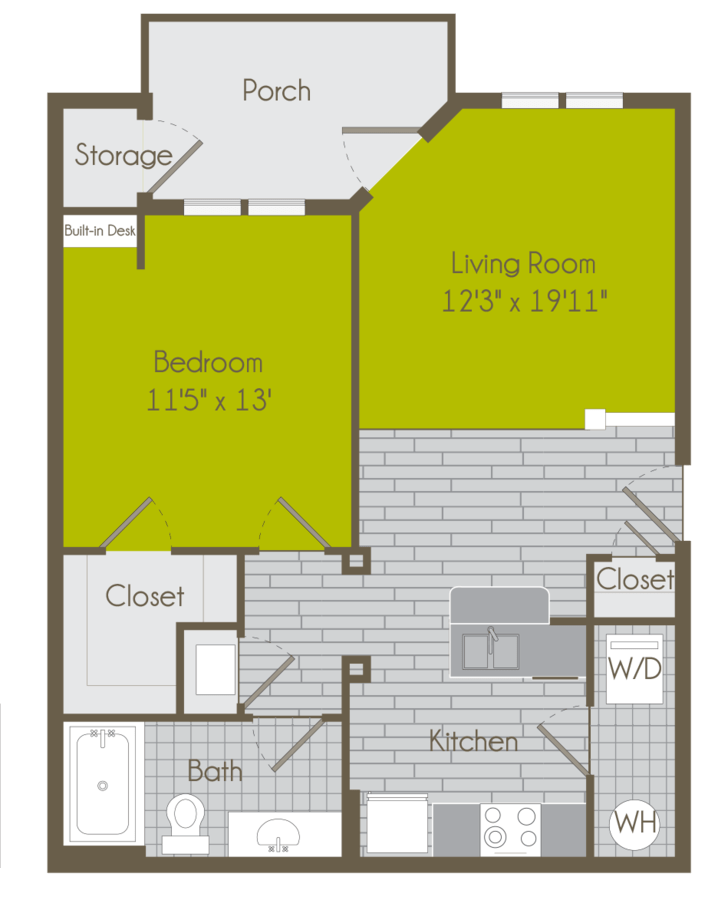 1 Bedroom 1 Bathroom Apartment for rent at The Villages At Mccullers Walk in Raleigh, NC
