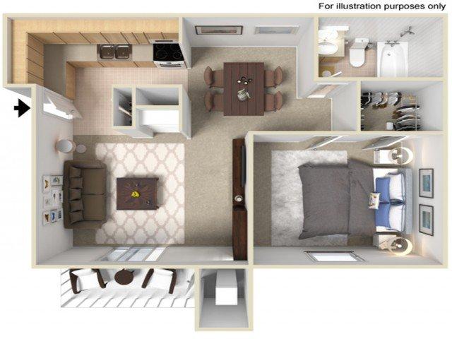 1 Bedroom 1 Bathroom Apartment for rent at Fairway Trails in Ypsilanti, MI