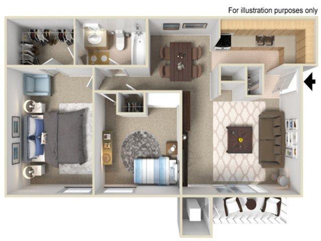 2 Bedrooms 1 Bathroom Apartment for rent at Fairway Trails in Ypsilanti, MI