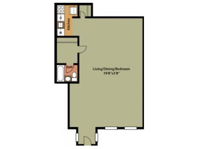 Studio 1 Bathroom Apartment for rent at Hilltop Apartments in New Carrollton, MD