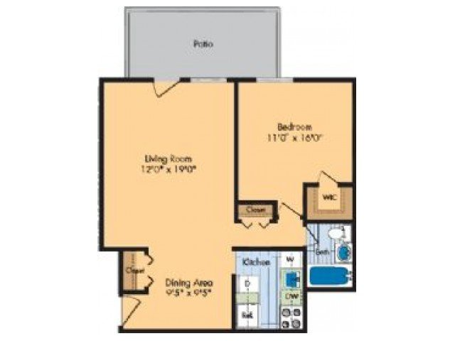 1 Bedroom 1 Bathroom Apartment for rent at Hilltop Apartments in New Carrollton, MD