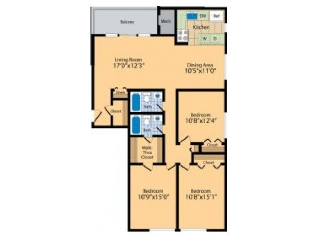 3 Bedrooms 2 Bathrooms Apartment for rent at Hilltop Apartments in New Carrollton, MD