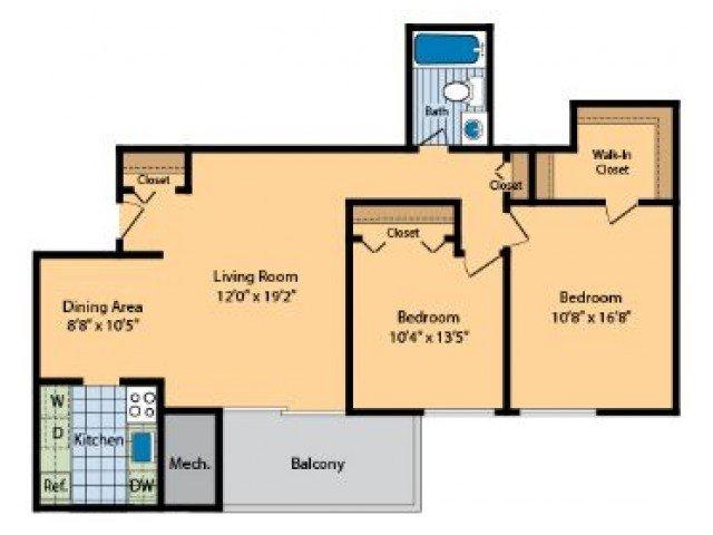 2 Bedrooms 1 Bathroom Apartment for rent at Hilltop Apartments in New Carrollton, MD