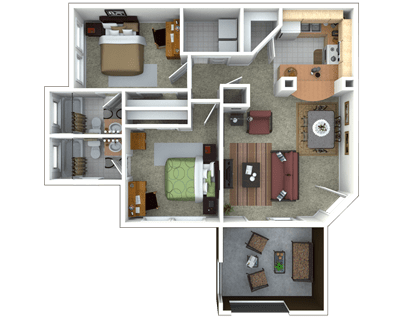 2 Bedrooms 2 Bathrooms Apartment for rent at Campus Lodge in Gainesville, FL
