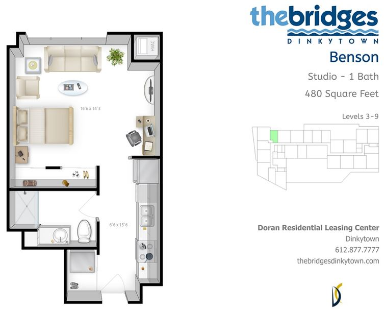 Studio 1 Bathroom Apartment for rent at The Bridges in Minneapolis, MN