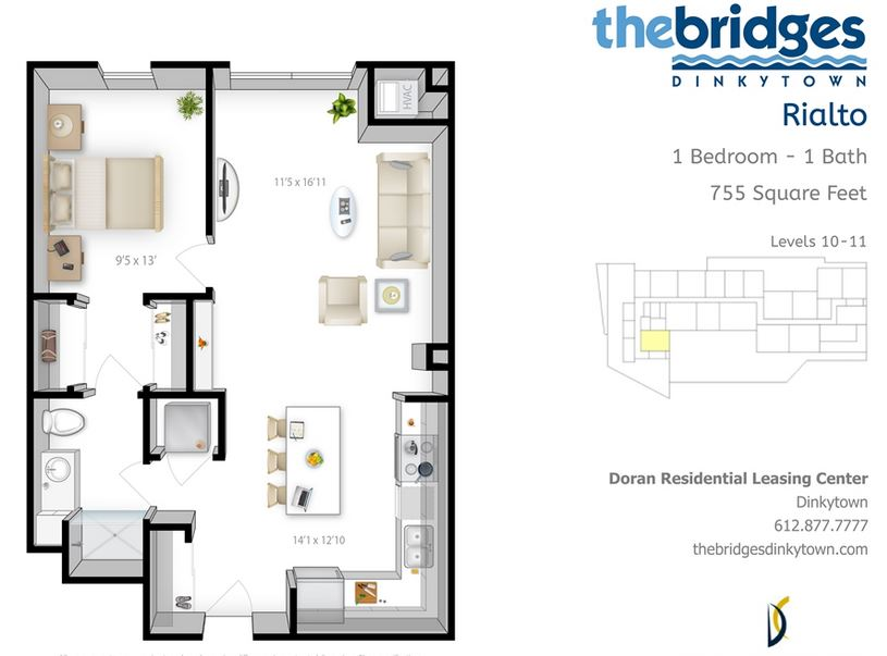 1 Bedroom 1 Bathroom Apartment for rent at The Bridges in Minneapolis, MN