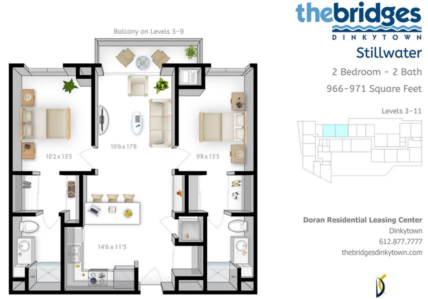 2 Bedrooms 2 Bathrooms Apartment for rent at The Bridges in Minneapolis, MN