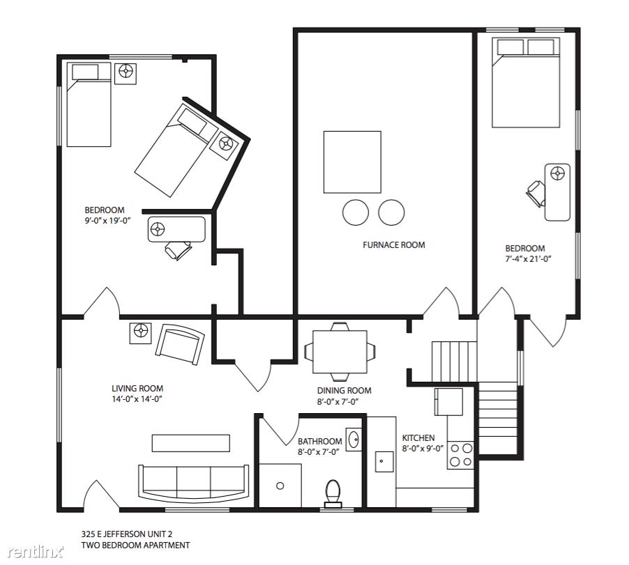 2 Bedrooms 1 Bathroom Apartment for rent at 325 E Jefferson St in Ann Arbor, MI