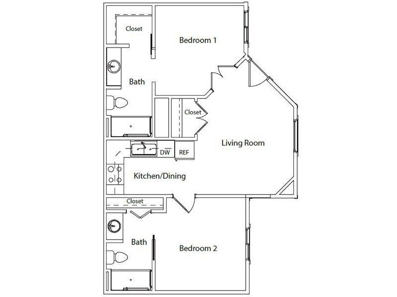 2 Bedrooms 2 Bathrooms Apartment for rent at Hillside Senior Living in Gaithersburg, MD