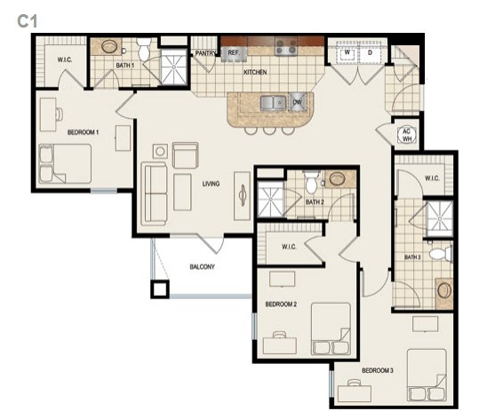 3 Bedrooms 3 Bathrooms Apartment for rent at Canopy Apartments in Gainesville, FL