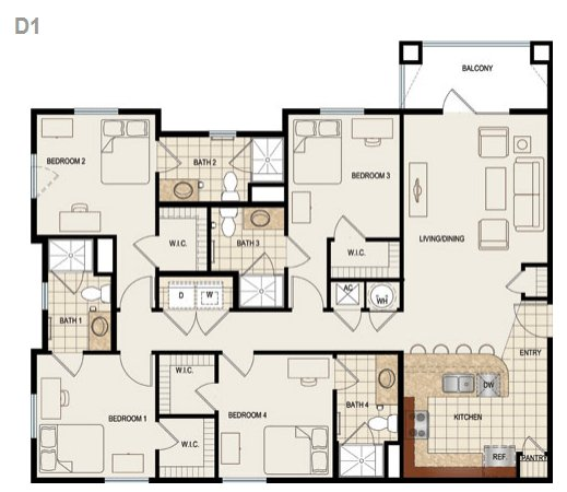 4 Bedrooms 3 Bathrooms Apartment for rent at Canopy Apartments in Gainesville, FL