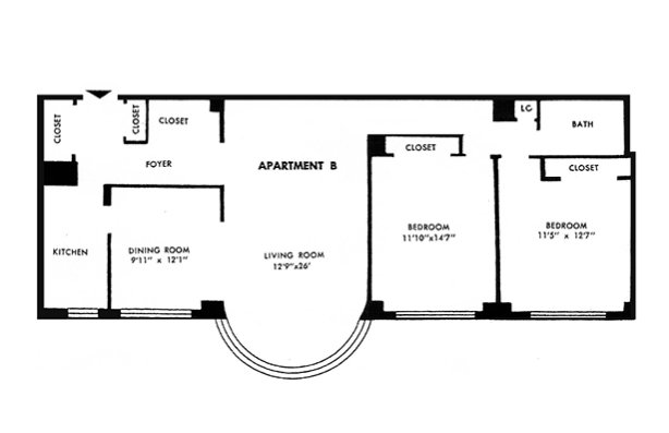 2 Bedrooms 1 Bathroom Apartment for rent at Parkway House Apartments in Philadelphia, PA