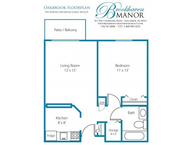 1 Bedroom 1 Bathroom Apartment for rent at Brookhaven Manor in Ann Arbor, MI