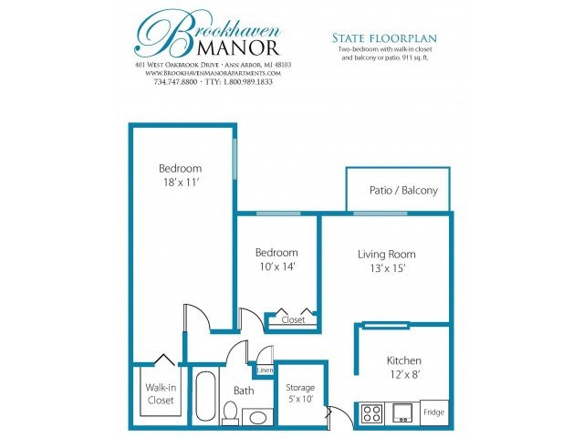 2 Bedrooms 1 Bathroom Apartment for rent at Brookhaven Manor in Ann Arbor, MI