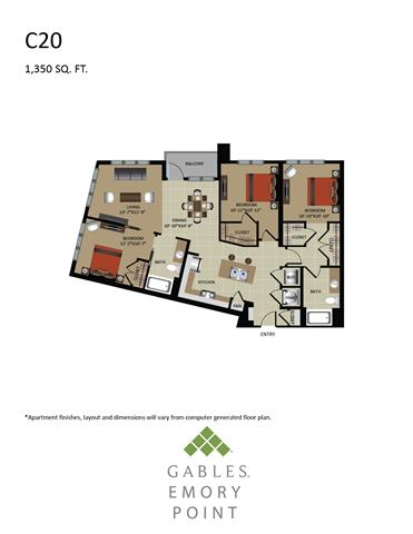3 Bedrooms 2 Bathrooms Apartment for rent at Gables Emory Point in Atlanta, GA