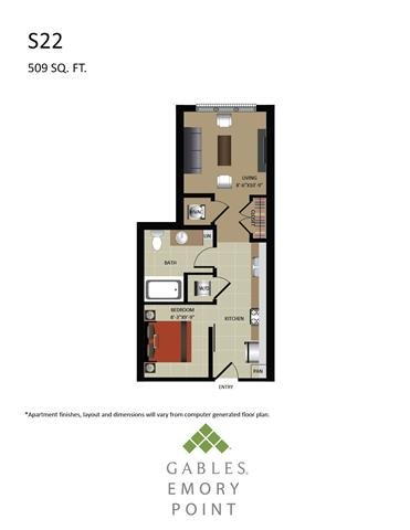 Studio 1 Bathroom Apartment for rent at Gables Emory Point in Atlanta, GA