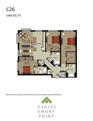 3 Bedrooms 3 Bathrooms Apartment for rent at Gables Emory Point in Atlanta, GA
