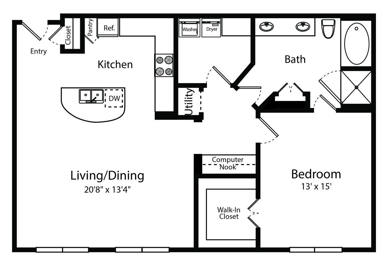 1 Bedroom 1 Bathroom Apartment for rent at Gables 6464 San Felipe in Houston, TX