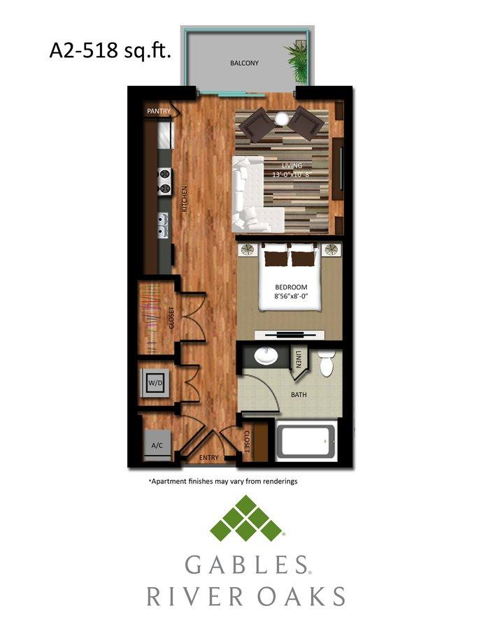 Studio 1 Bathroom Apartment for rent at Gables River Oaks in Houston, TX