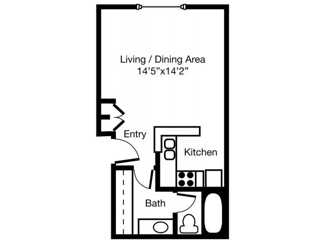 Studio 1 Bathroom Apartment for rent at Eaves Mt. View At Middlefield in Mountain View, CA