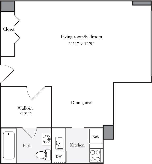 Studio 1 Bathroom Apartment for rent at The Statesman in Washington, DC