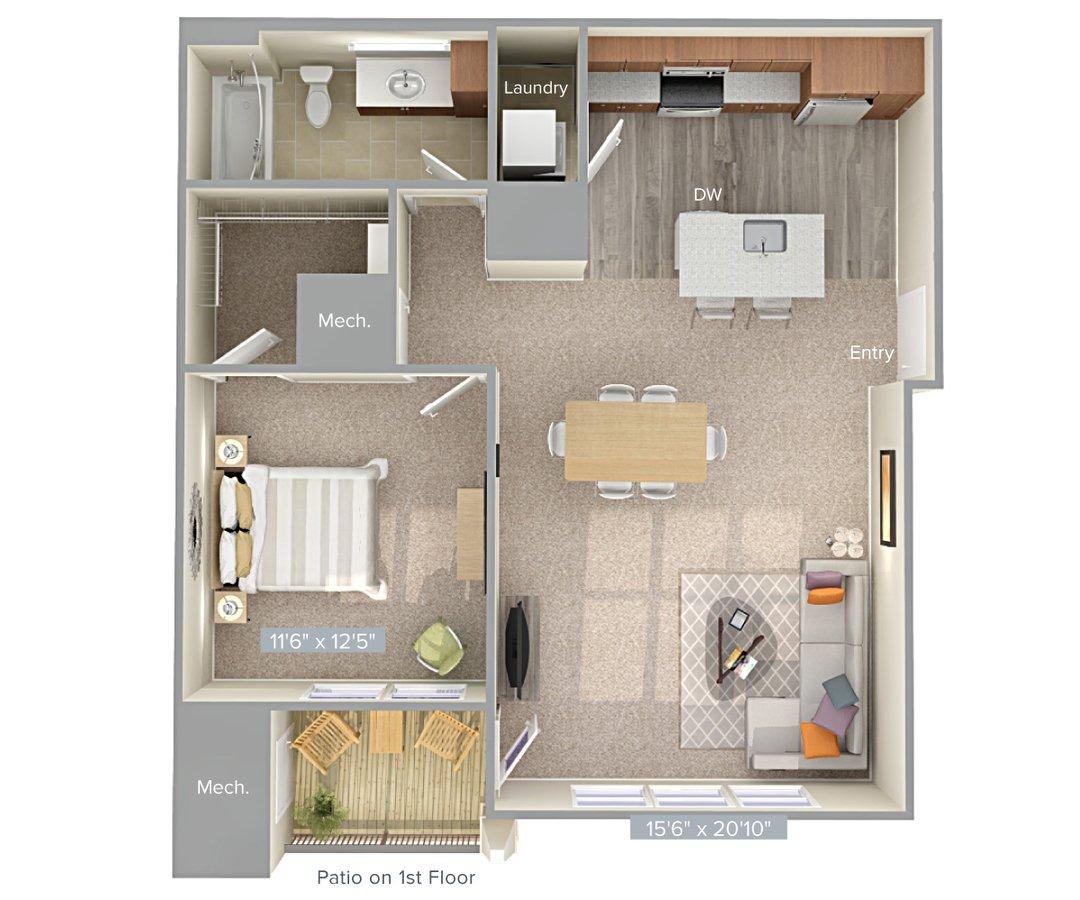 1 Bedroom 1 Bathroom Apartment for rent at Avalon Laurel in Laurel, MD
