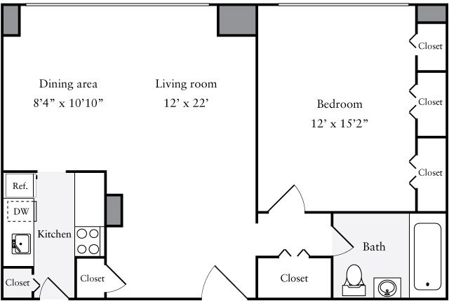 1 Bedroom 1 Bathroom Apartment for rent at The Statesman in Washington, DC