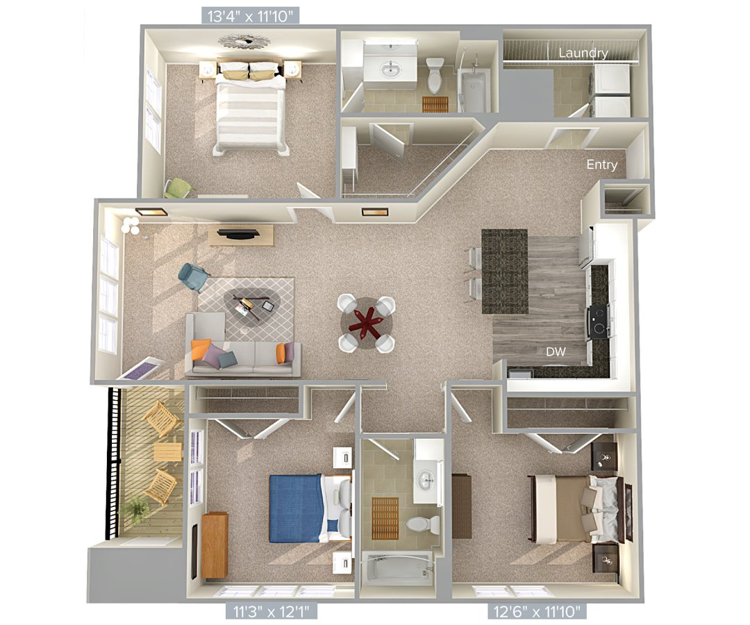 3 Bedrooms 2 Bathrooms Apartment for rent at Avalon Laurel in Laurel, MD
