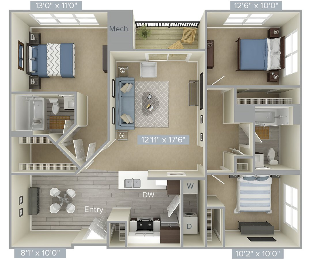 3 Bedrooms 2 Bathrooms Apartment for rent at Avalon At Edgewater in Edgewater, NJ