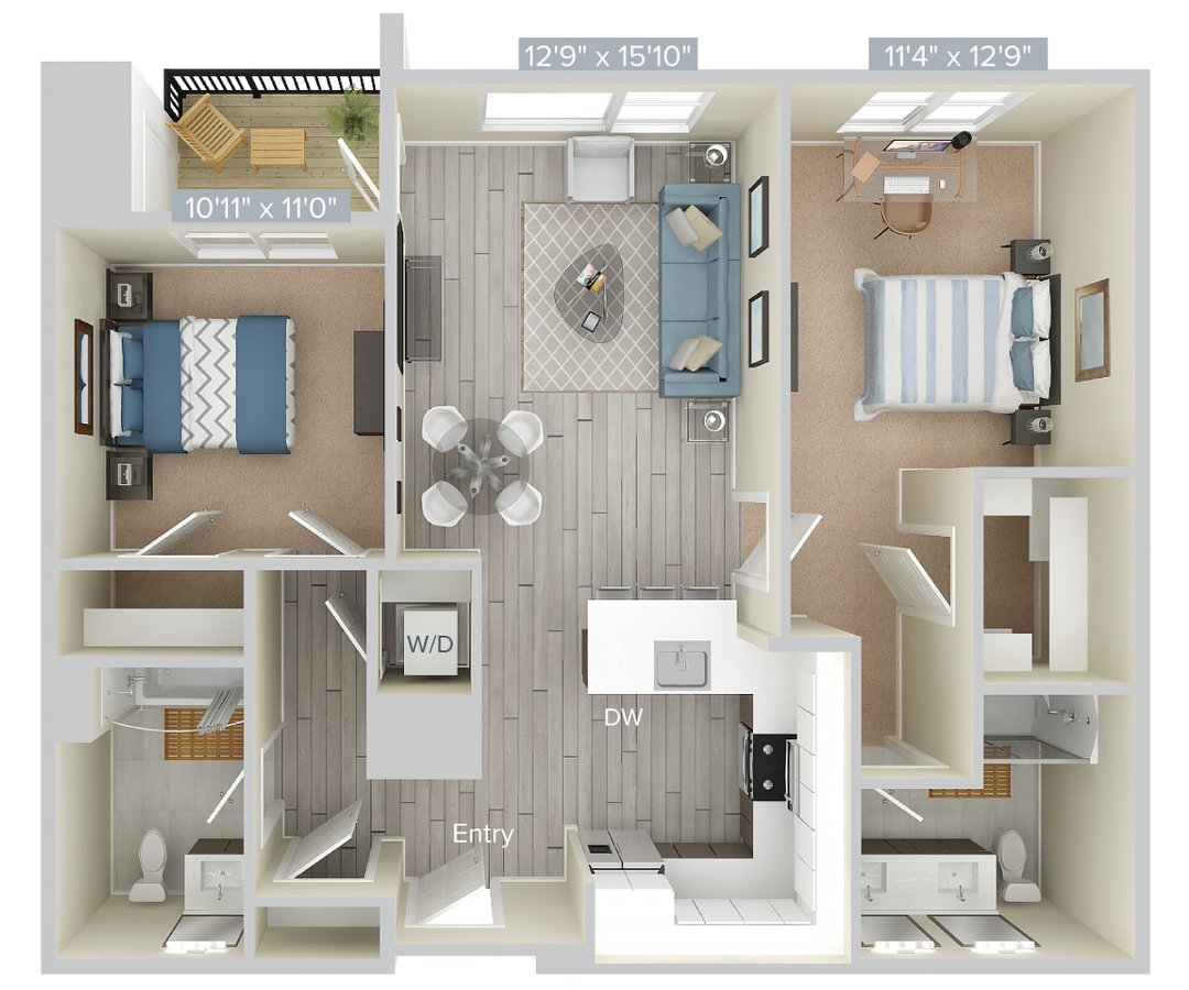 2 Bedrooms 2 Bathrooms Apartment for rent at Avalon At Edgewater in Edgewater, NJ