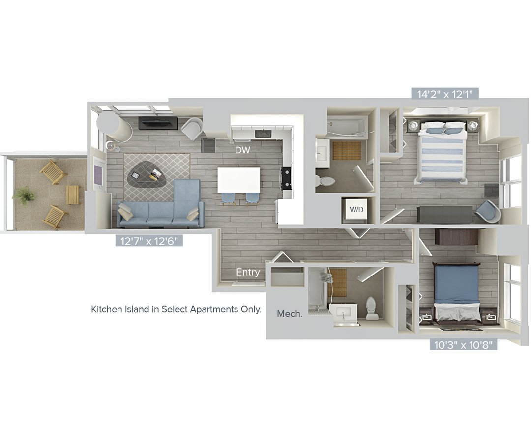 2 Bedrooms 2 Bathrooms Apartment for rent at Avalon Brooklyn Bay in Brooklyn, NY
