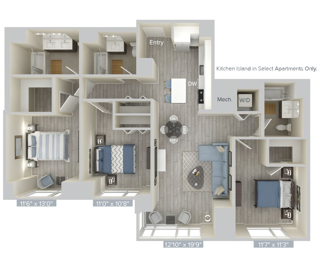 3 Bedrooms 3 Bathrooms Apartment for rent at Avalon Brooklyn Bay in Brooklyn, NY