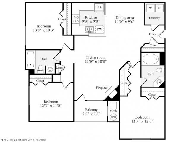 3 Bedrooms 2 Bathrooms Apartment for rent at Avalon Reston Landing in Reston, VA