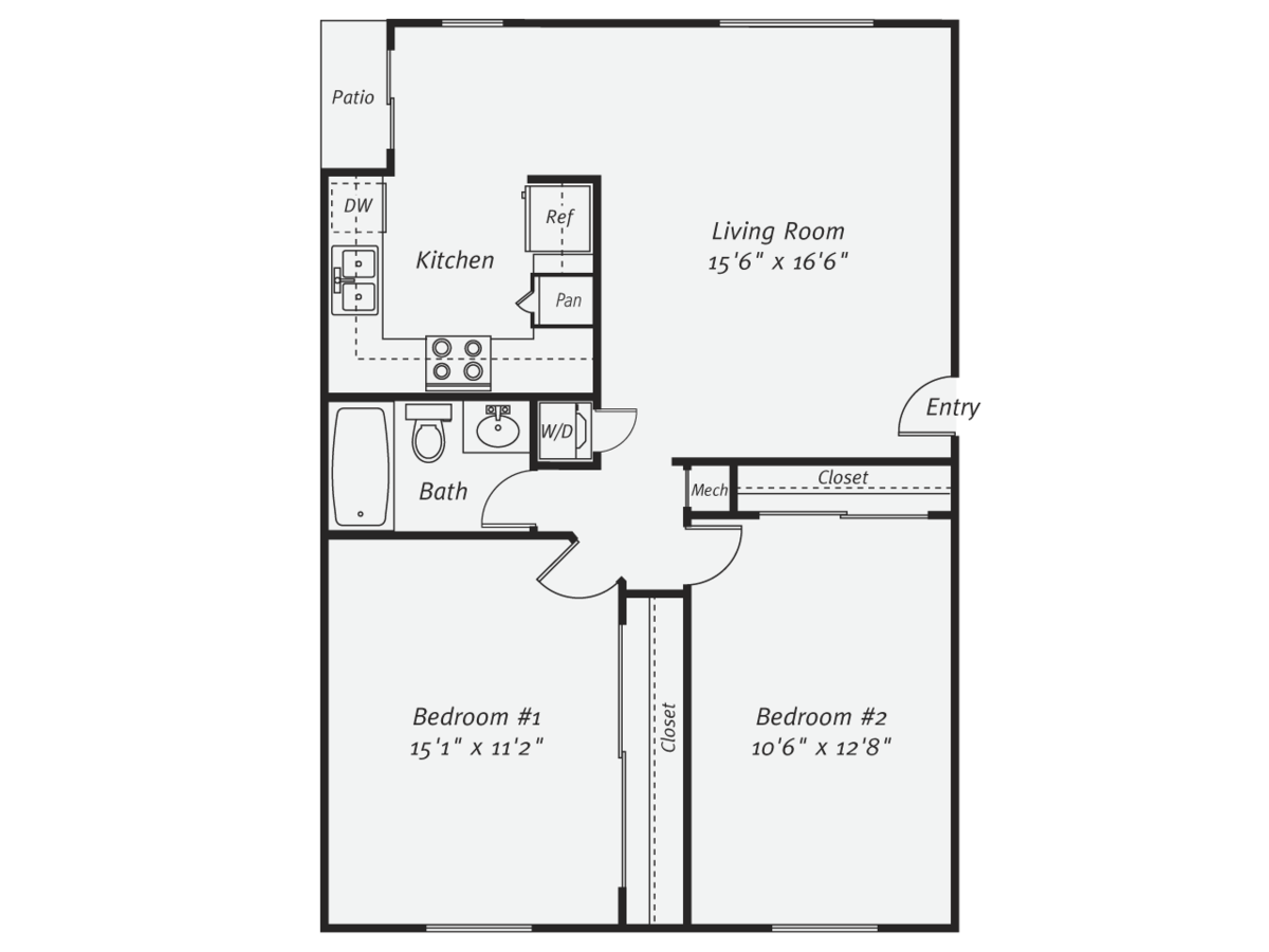 2 Bedrooms 1 Bathroom Apartment for rent at Eaves Mission Ridge in San Diego, CA