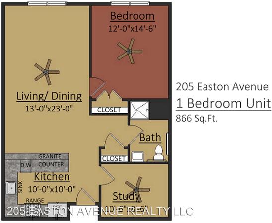 1 Bedroom 1 Bathroom Apartment for rent at 205 Easton Avenue in New Brunswick, NJ