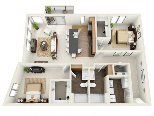 2 Bedrooms 2 Bathrooms Apartment for rent at The North End in Milwaukee, WI