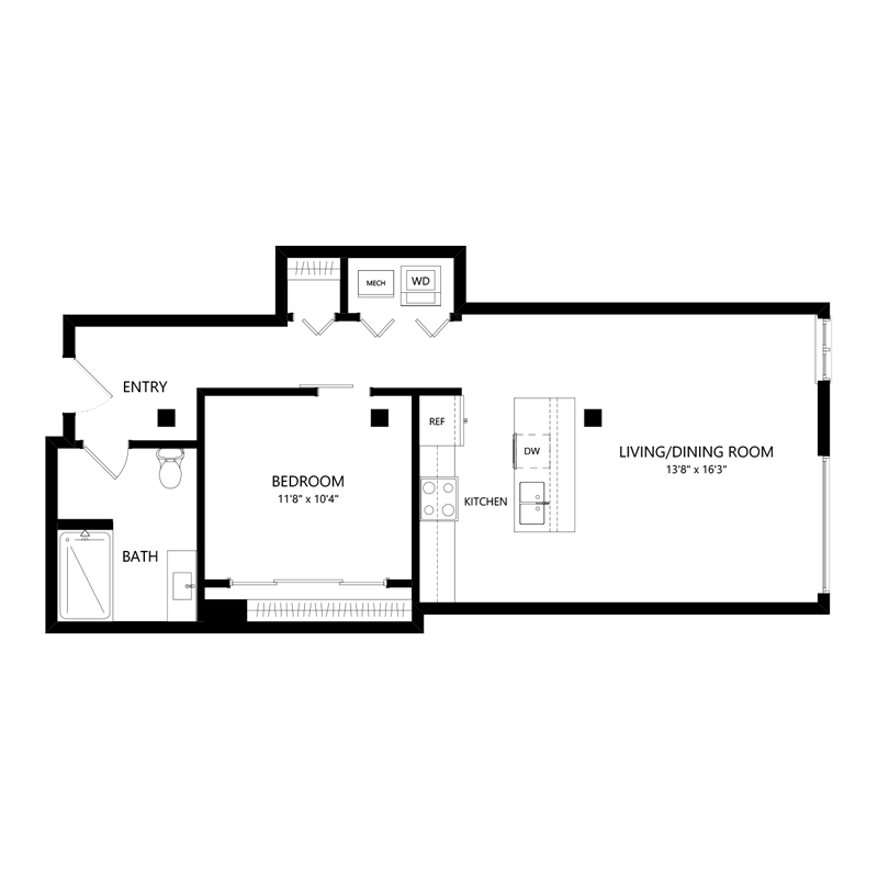 1 Bedroom 1 Bathroom Apartment for rent at Serif Milwaukee in Milwaukee, WI