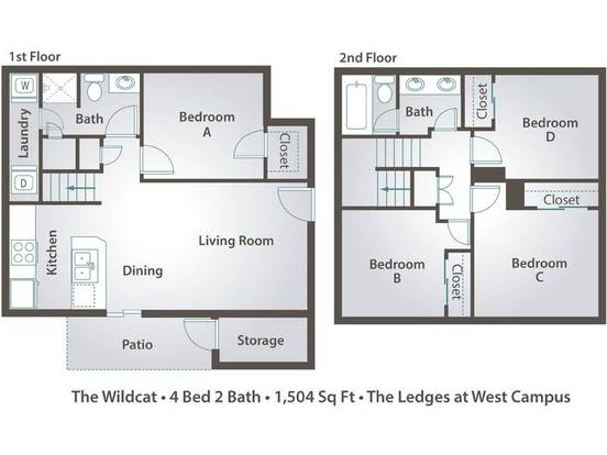 4 Bedrooms 2 Bathrooms Apartment for rent at The Ledges At West Campus in Tucson, AZ