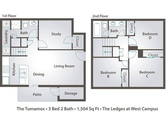 3 Bedrooms 2 Bathrooms Apartment for rent at The Ledges At West Campus in Tucson, AZ