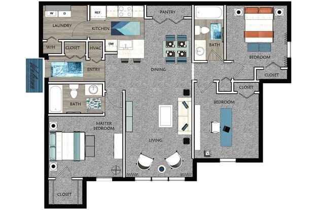 3 Bedrooms 2 Bathrooms Apartment for rent at Cambridge Pointe in Stockbridge, GA