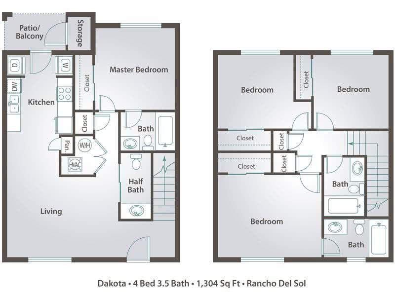 4 Bedrooms 3 Bathrooms Apartment for rent at Rancho Del Sol in Peoria, AZ