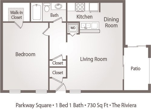1 Bedroom 1 Bathroom Apartment for rent at Parkway Square Apartments in Tallahassee, FL