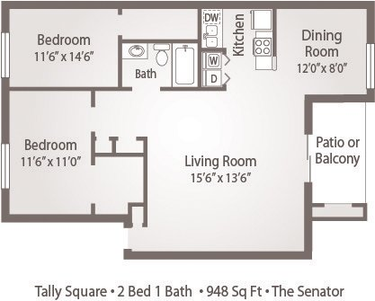 2 Bedrooms 1 Bathroom Apartment for rent at Tally Square Apartments in Tallahassee, FL