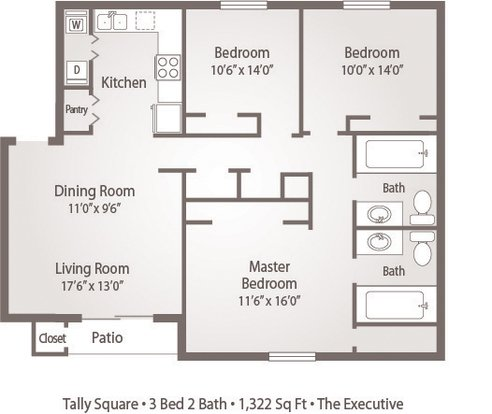 3 Bedrooms 2 Bathrooms Apartment for rent at Tally Square Apartments in Tallahassee, FL
