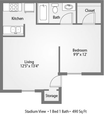 1 Bedroom 1 Bathroom Apartment for rent at Stadium View in College Station, TX