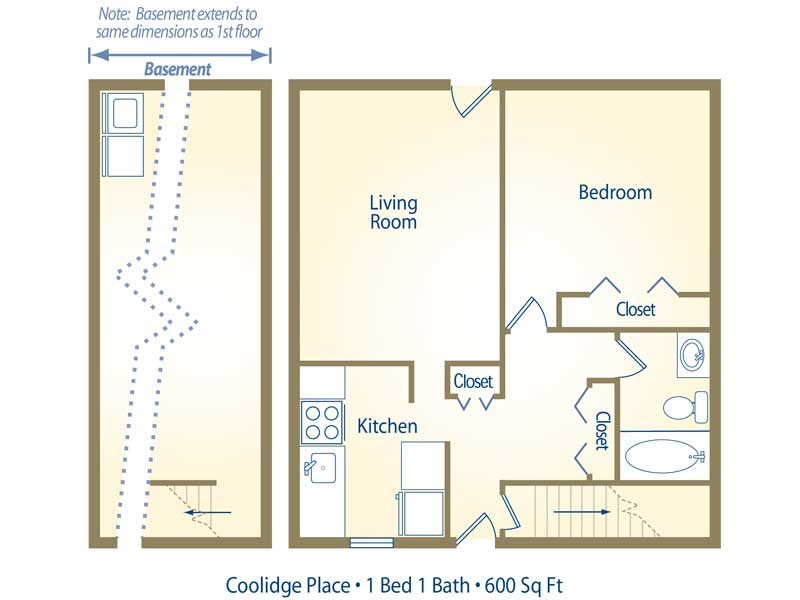 1 Bedroom 1 Bathroom Apartment for rent at Coolidge Place Townhomes in East Lansing, MI