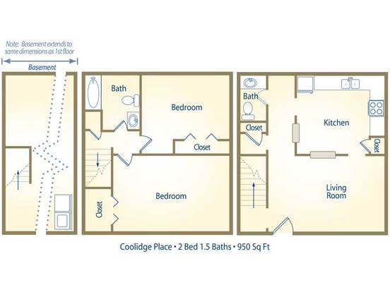 2 Bedrooms 1 Bathroom Apartment for rent at Coolidge Place Townhomes in East Lansing, MI