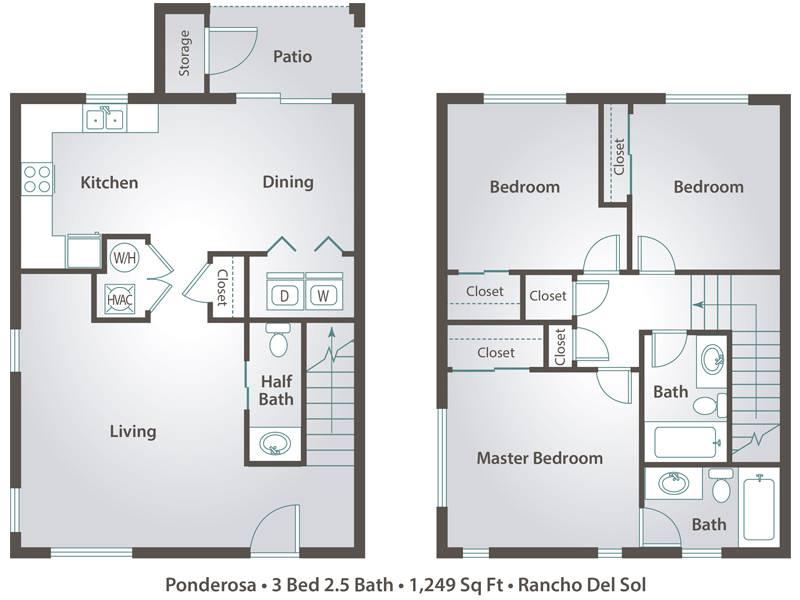 3 Bedrooms 2 Bathrooms Apartment for rent at Rancho Del Sol in Peoria, AZ